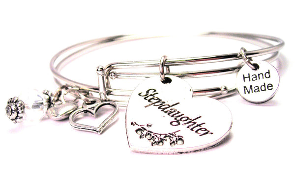 Stepdaughter Heart Expandable Bangle Bracelet Set