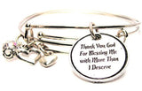 Thank You God For Blessing Me With More Than I Deserve Expandable Bangle Bracelet Set