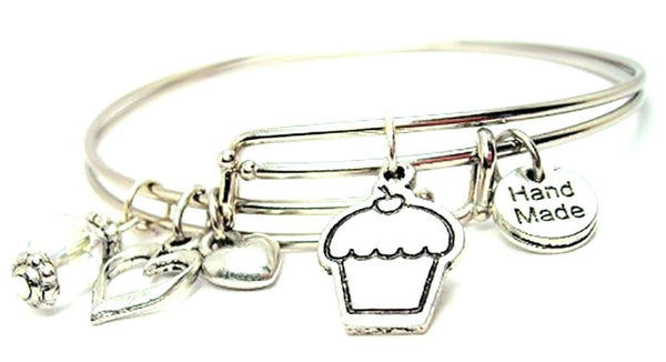 Cupcake With Little Cherry Expandable Bangle Bracelet Set