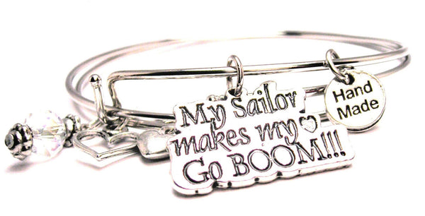 My Sailor Makes My Heart Go Boom Expandable Bangle Bracelet Set