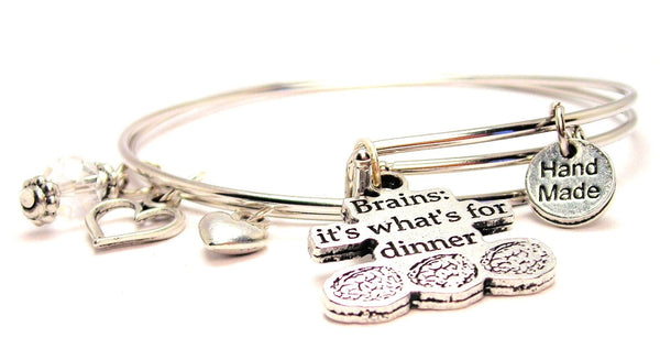 Brains It's What's For Dinner Expandable Bangle Bracelet Set