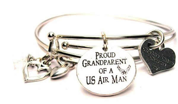 Proud Grandparent Of A US Air Man Expandable Bangle Bracelet Set