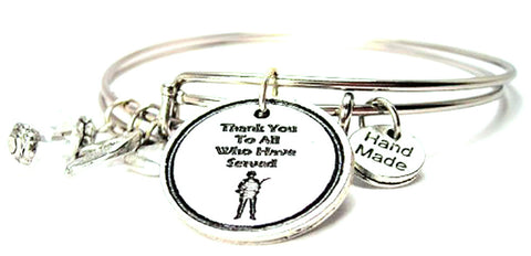 Thank You For All Who Have Served Expandable Bangle Bracelet Set
