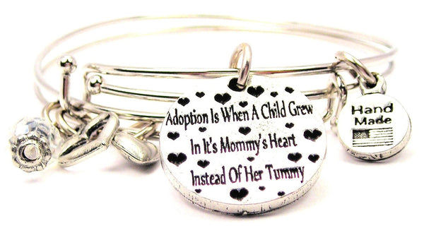 Adoption Is When A Child Grew In It's Mommy's Heart Instead Of Her Tummy Expandable Bangle Bracelet Set