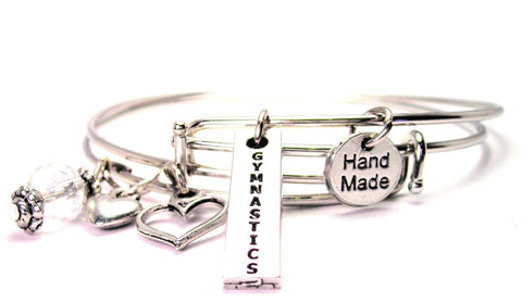 Gymnastics Long Tab Expandable Bangle Bracelet Set