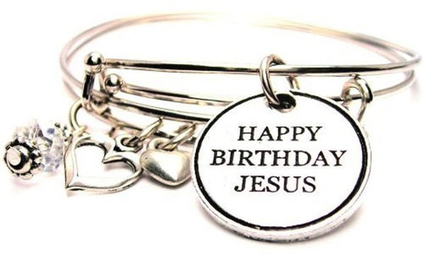 Happy Birthday Jesus Expandable Bangle Bracelet Set