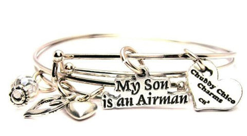 My Son Is An Airman Expandable Bangle Bracelet Set