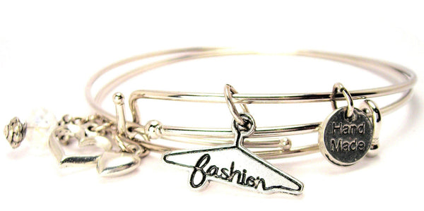 Fashion Clothes Hanger Expandable Bangle Bracelet Set