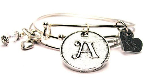 Initial A Circle Expandable Bangle Bracelet Set