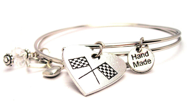 Crossed Race Flags In A Heart Expandable Bangle Bracelet Set