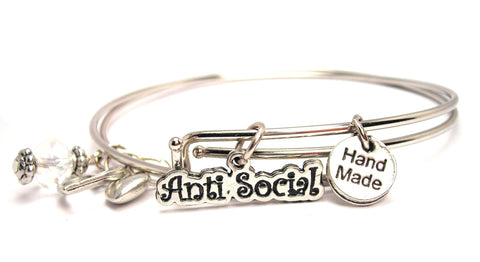 Anti Social Expandable Bangle Bracelet Set