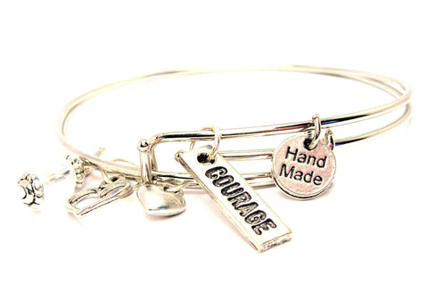 Courage Tab Expandable Bangle Bracelet Set