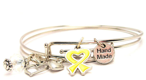 Hand Painted Yellow Small Heart Shaped Awareness Ribbon Expandable Bangle Bracelet Set