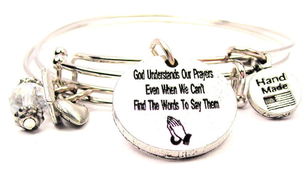 God Understands Our Prayers Even When We Cant Find The Words To Say Them Expandable Bangle Bracelet Set