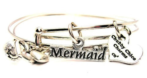 Mermaid Stylized Expandable Bangle Bracelet Set