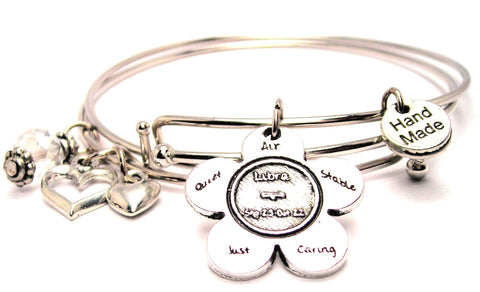 The Libra Flower Expandable Bangle Bracelet Set