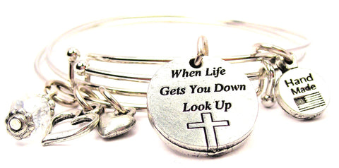 When Life Gets You Down Look Up Expandable Bangle Bracelet Set
