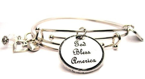 God Bless America Expandable Bangle Bracelet Set