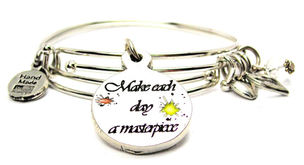 Hand Painted Make Each Day A Masterpiece Expandable Bangle Bracelet Set