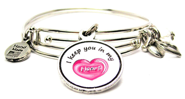 Hand Painted Pink I Keep You In My Heart Expandable Bangle Bracelet Set