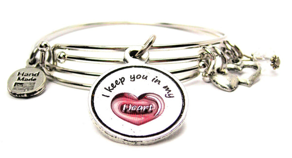 Hand Painted Red I Keep You In My Heart Expandable Bangle Bracelet Set