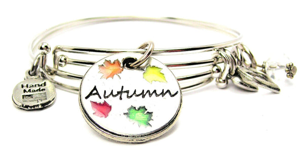 Hand Painted Autumn Circle Expandable Bangle Bracelet Set