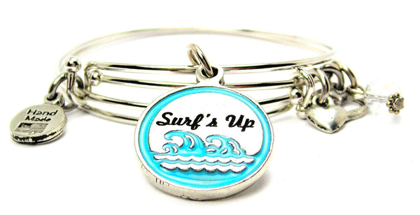 Hand Painted Surfs Up Expandable Bangle Bracelet Set