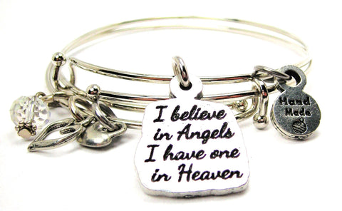 I Believe In Angels I Have One In Heaven Expandable Bangle Bracelet Set