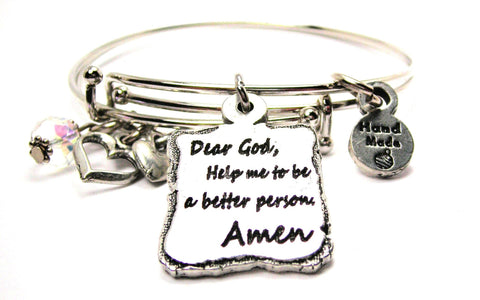 Dear God Help Me To Be A Better Person Amen Expandable Bangle Bracelet Set