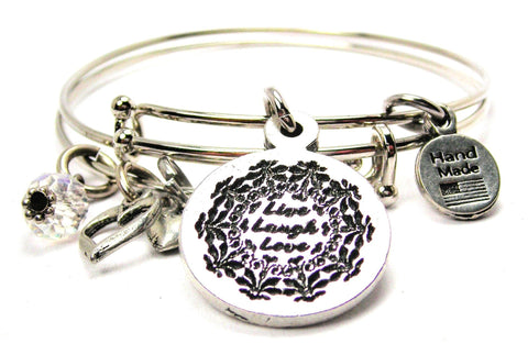 Live Laugh Love Circle Expandable Bangle Bracelet Set