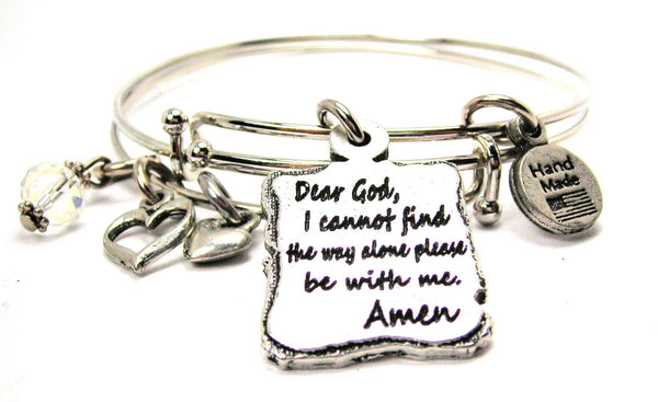 Dear God I Cannot Find The Way Alone Please Be With Me Amen Expandable Bangle Bracelet Set