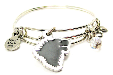 Black Dire Wolf Hand Painted Expandable Bangle Bracelet Set