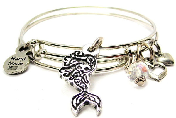 Cute Mermaid Hand Painted Expandable Bangle Bracelet Set