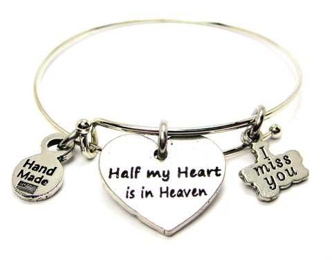 Half My Heart Is In Heaven Heart Expandable Bangle Bracelet
