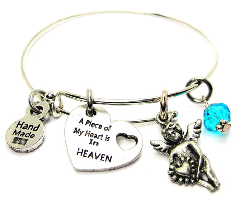 A Piece Of My Heart Is In Heaven With Angel Charm Expandable Bangle Bracelet