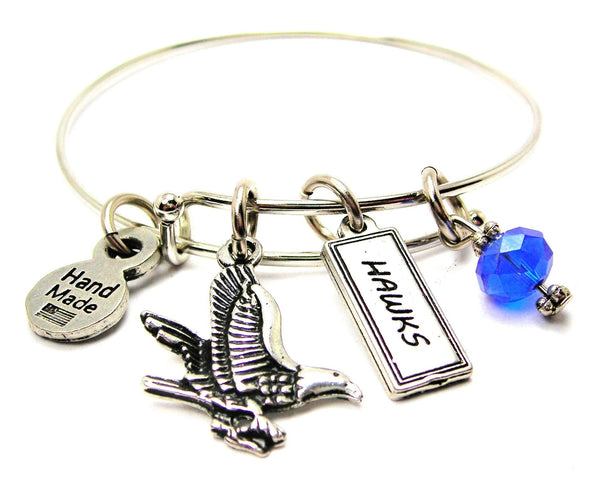 Hawk With Hawks Tab Expandable Bangle Bracelet