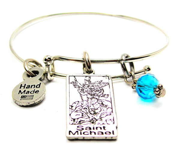 Saint Michael Expandable Bangle Bracelet