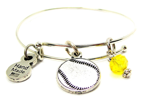 Engraved Baseball Softball Expandable Bangle Bracelet