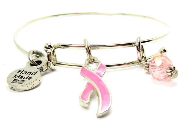 Breast Cancer Awareness Ribbon Expandable Bangle Bracelet