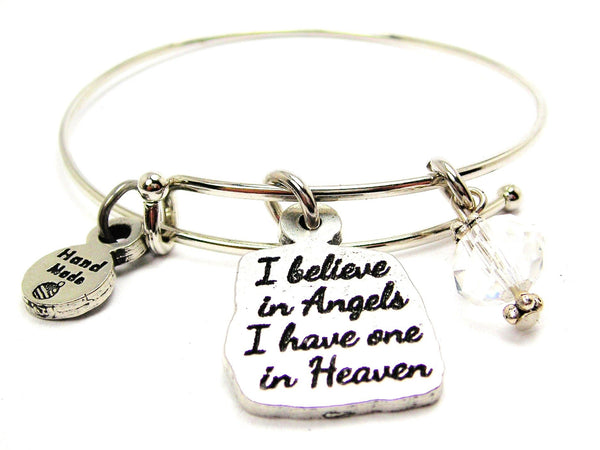 I Believe In Angels I Have One In Heaven Expandable Bangle Bracelet