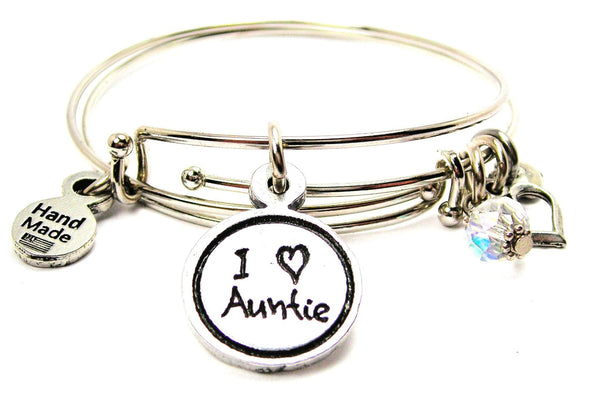 I Love Auntie Child Handwriting Expandable Bangle Bracelet