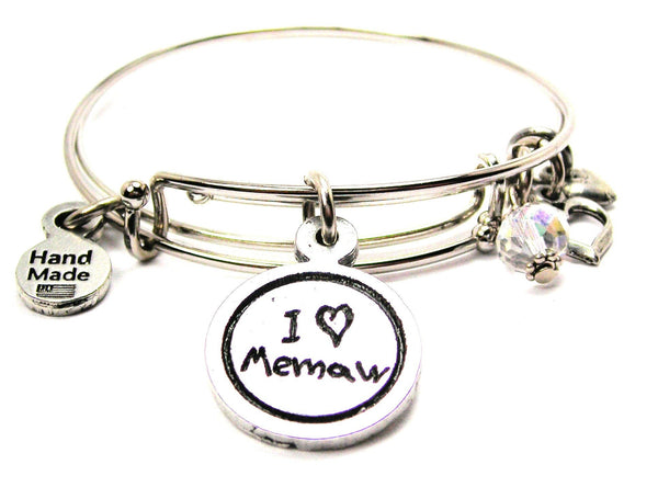 I Love Memaw Child Handwriting Expandable Bangle Bracelet