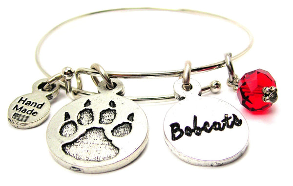 Furry Paw With Bobcats Circle Bangle Bracelet