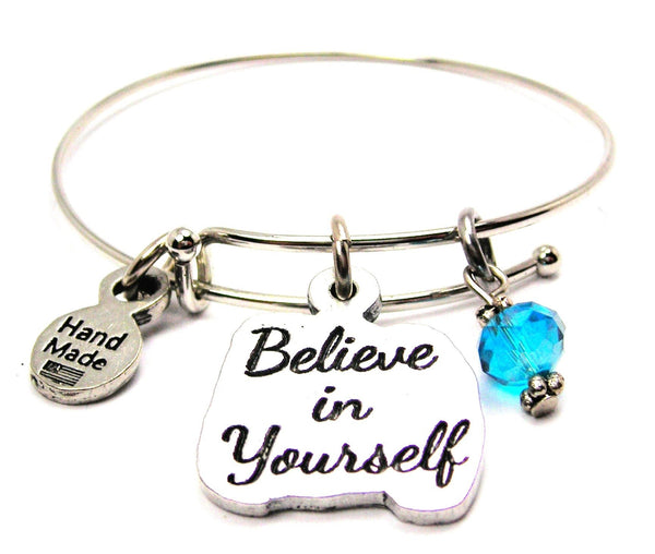 Believe In Yourself Expandable Bangle Bracelet