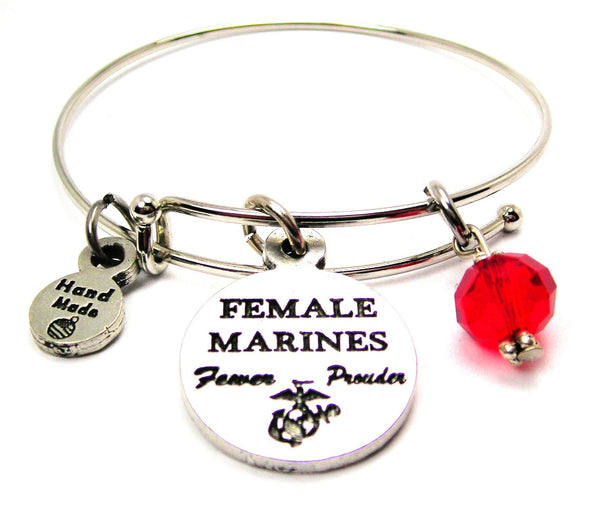 Female Marines Fewer Prouder Expandable Bangle Bracelet