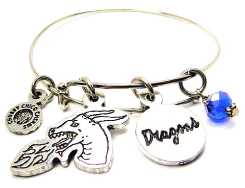 Dragon Head With Dragons Circle Expandable Bangle Bracelet