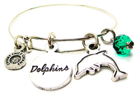 Dolphin With Dolphins Circle Expandable Bangle Bracelet