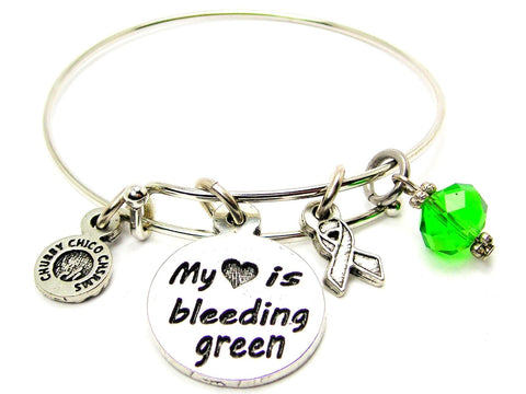 My Heart is Bleeding Green with Awareness Ribbon Bangle Bracelet