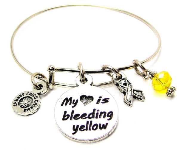 My Heart is Bleeding Yellow with Awareness Ribbon Bangle Bracelet