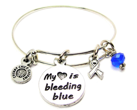My Heart is Bleeding Blue with Awareness Ribbon Bangle Bracelet